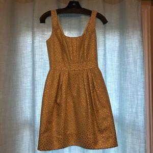 Shoshanna Gold Jacquard dress w/ pockets